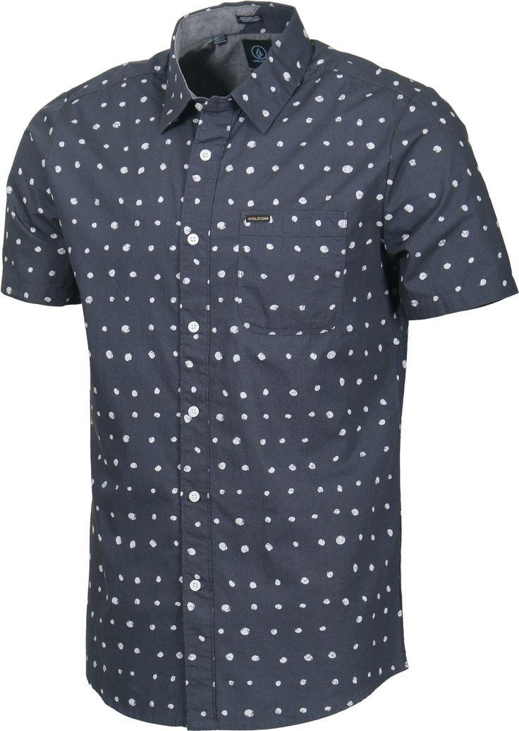 Volcom Men's Volka Dot short sleeve button up shirt in charcoal