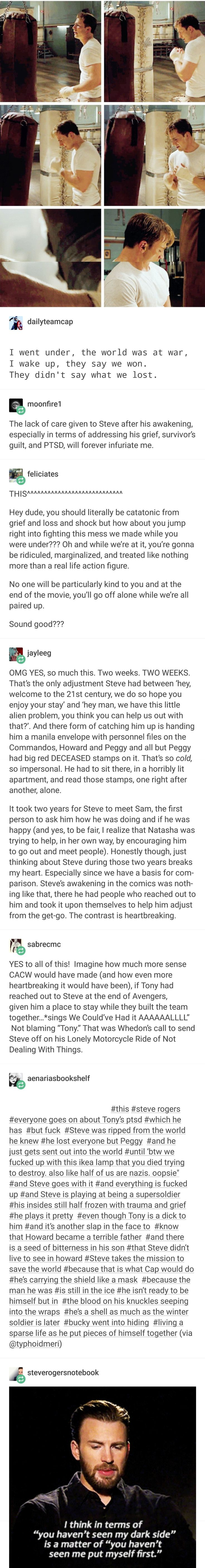 The lack of care given to Steve is horrifying. #steverogers #meta