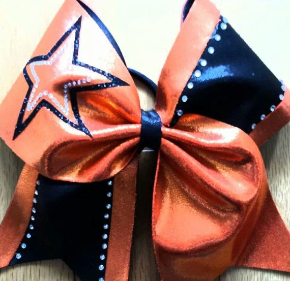Black and Orange star cheer bow by TonTonsBowtique on Etsy, $15.00