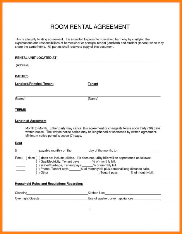 Simple Month To Month Rental Agreement Template In 2019