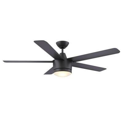 Guest Room Fan - Home Decorators Collection Merwry 52 in. Matte Black Indoor LED Ceiling Fan-SW1422MBK - The Home Depot