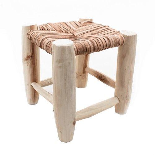 tabouret marocain en bois et cuir naturel de artisanat