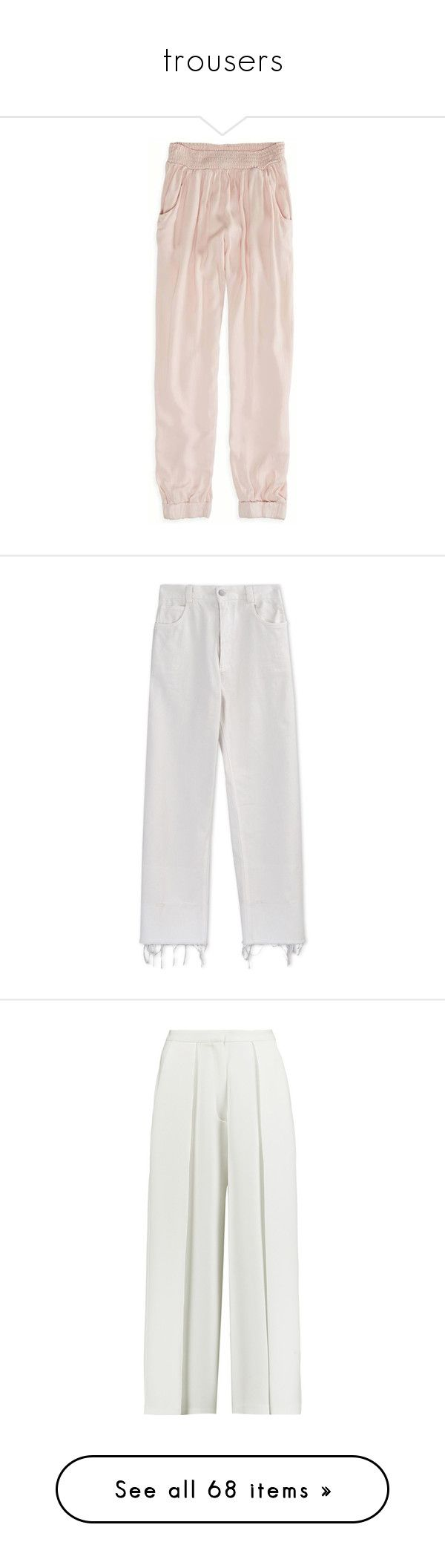 """""""trousers"""" by rg-amini ❤ liked on Polyvore featuring pants, bottoms, pajamas, pantalones, cream, saggy pants, american eagle outfitters pants, jersey pants, pink jersey and cuffed pants"""