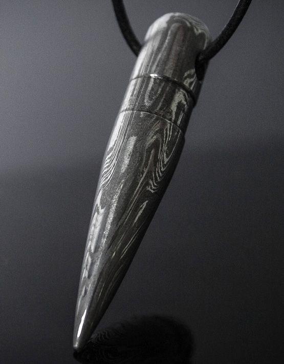 .50 BMG Bullet Pendant – Damascus Steel