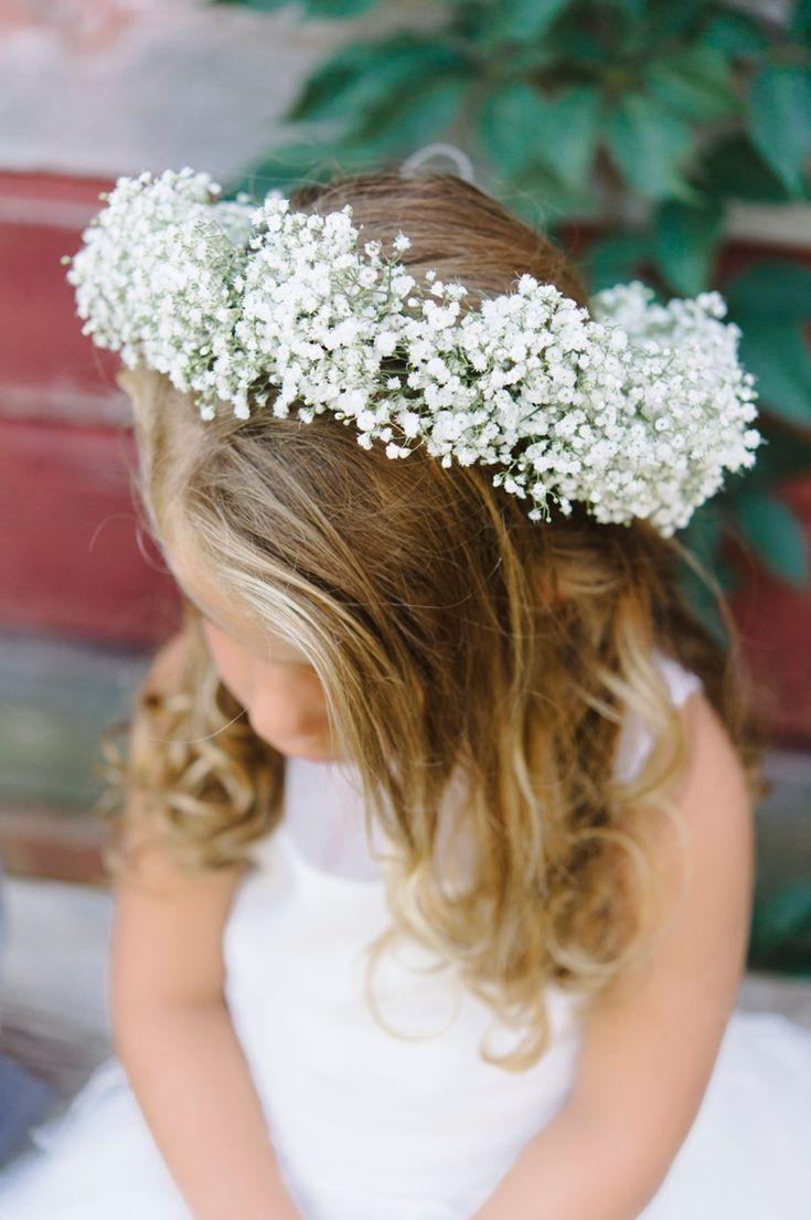 Breathtaking Rustic Baby's Breath Flower Girl Crown