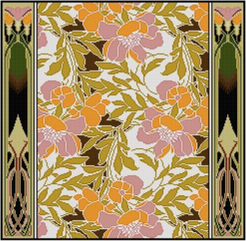 Pink and orange floral textile design by Rene Beauclair, from the Arts & Crafts period