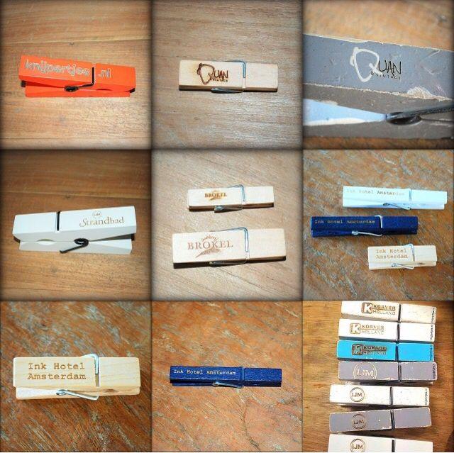 Laat je eigen tekst of logo graveren in een van de vele knijpers van Knijpertjes nl   Creatief