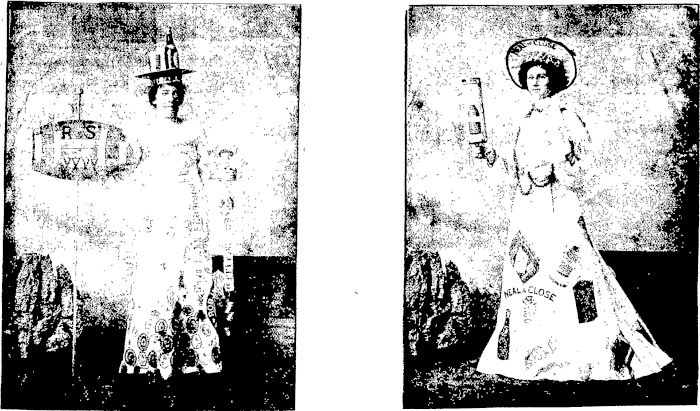 Miss Jane Heath and Miss A Ericsson at the Napier Poster Ball. Free Lance, 13 September 1902, Page 7