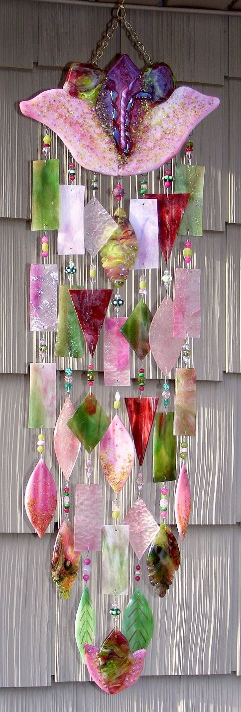 Kirks Glass Art Fused Stained Glass Wind Chime windchime -  Pink Cottage Tulip. $325.00, via Etsy.