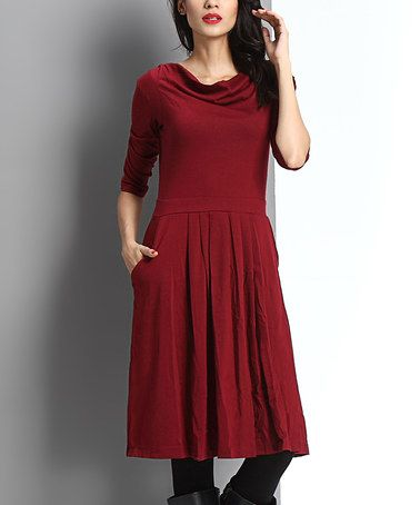 Another great find on #zulily! Burgundy Cowl Neck Fit & Flare Dress #zulilyfinds
