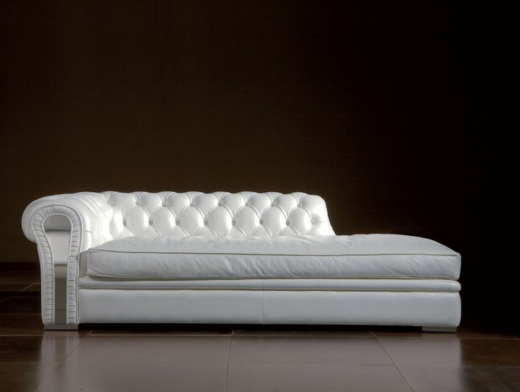 Sleeper Sofas Furniture victorian white leather tufted chaise lounge chair on dark ceramic tiled flooring Luxurious