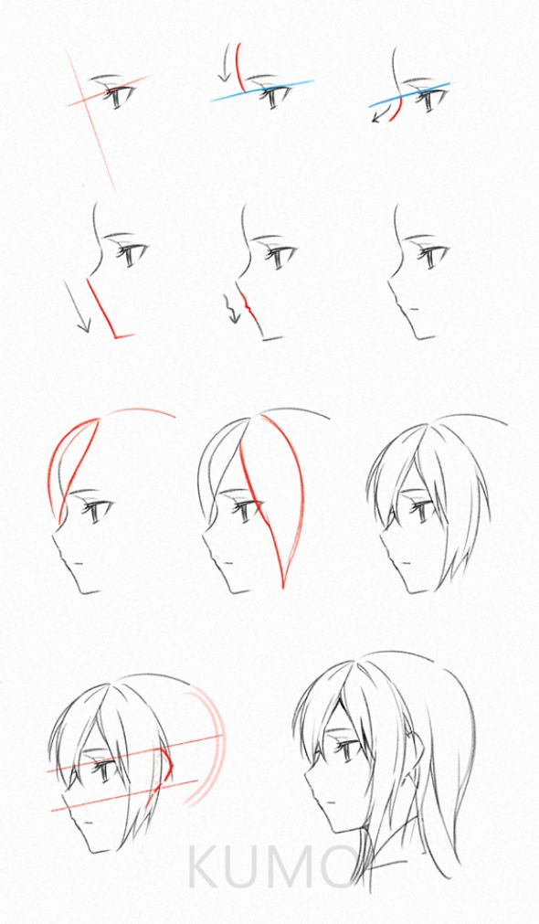Manga fille de profile étapes #animedrawing #anime #drawing #reference