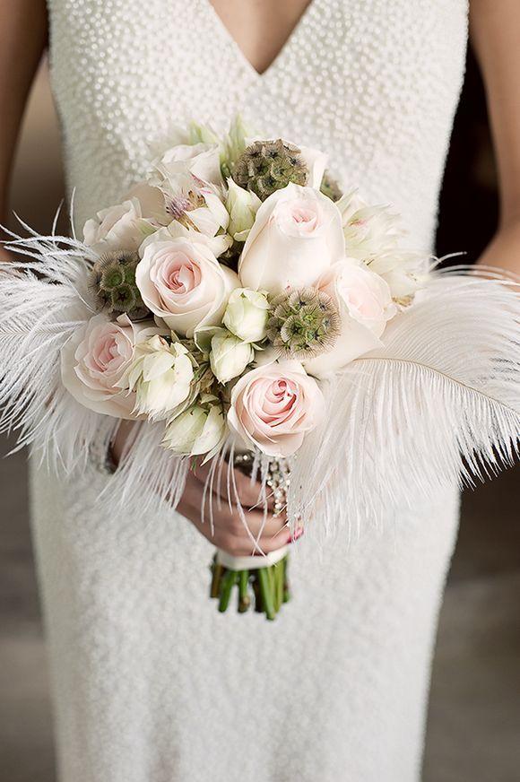 Feather flower wedding bouquet Great Gatsby Inspired Wedding Photoshoot - Photography by Sakura Photo...