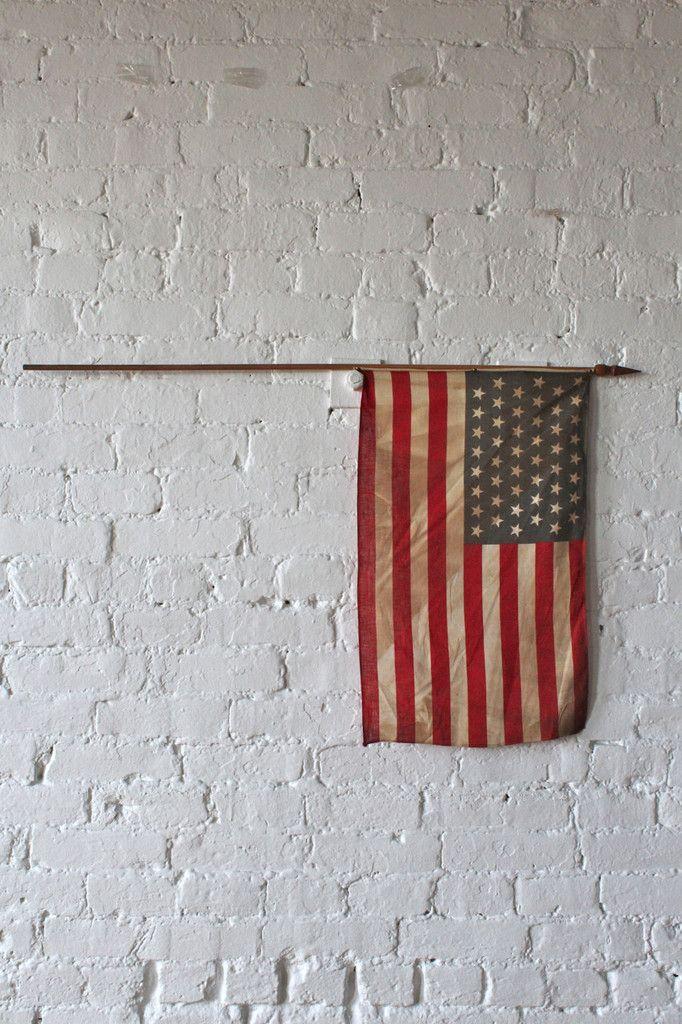 48 Star American Flag on Wooden Flag Pole (Medium) - FORESTBOUND