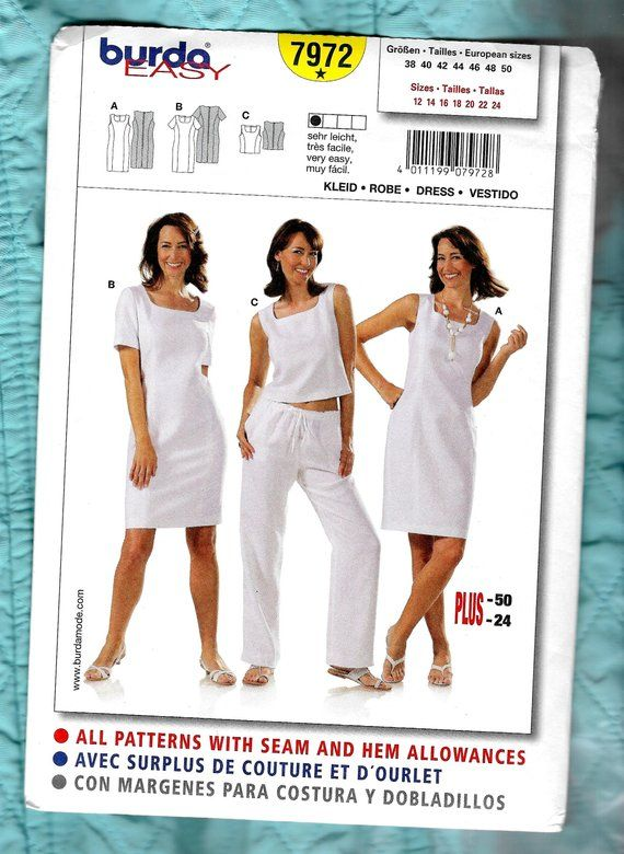Easy Burda Sleeveless Dresses Top Sewing Pattern 7972 | Etsy