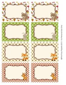 Woodland Forest Animals Classroom Bin Tag Labels