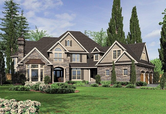 New American House Plan with 6020 Square Feet and 5 Bedrooms from