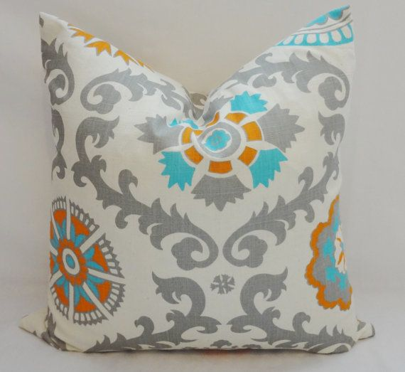 turquoise blue grey orange suzani pillow cover by homeliving