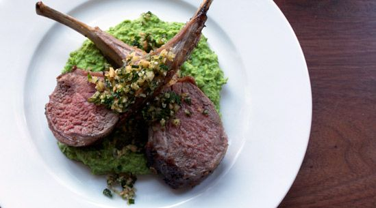Rack of Lamb with Hazelnut Gremolata and  Pea Purée