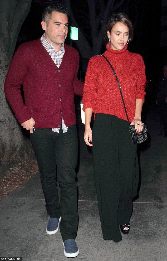 Twinning! Jessica Alba, 34, and husband Cash Warren, 36, looked as loved-up as ever, as they stepped out for a romantic date night to Madeo restaurant in Hollywood, Los Angeles in matching knitwear on Saturday night