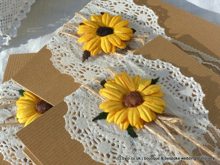 Rustic pocketfold wedding invitations with kraft, lace, doily, twine & sunflowers www.byjo.co.uk