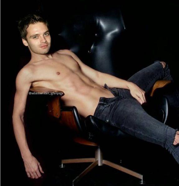 pin:「@thewhitelies」// bucky barnes played by shirtless sebastian stan. enjoy, my lovelies.