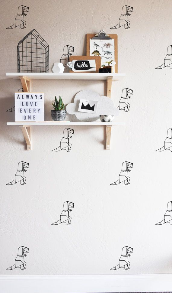 36 INDIVIDUAL -Origami T Rex - WALL DECAL Sizes - 6h Fully removable and reusable wall decals that will brighten and add character to any room. **PLEASE NOTE THAT METALLIC VINYL IS NOT REUSABLE** -100% polyester fabric self adhesive vinyl -HP Latex Inks -For best result do not use on textured walls or walls painted with flat paint. -To clean use damp cloth and warm water. All of our products are made to order. We do this to insure that you are getting a brand new wall decal that hasnt bee...