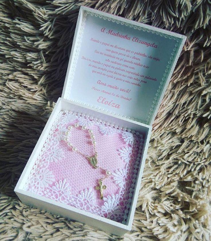 Caixa convite para padrinhos de batizado #decoração #babydecor #caixaconvite #batizado #menina #padrinhos
