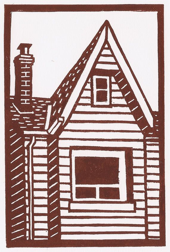 Original Linocut Print Toronto home in brown Free by catorart