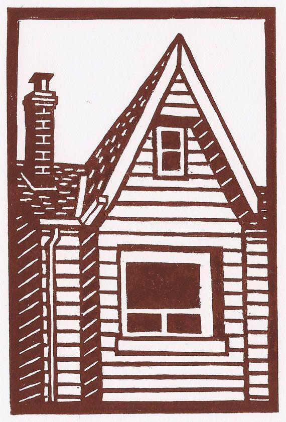 Original Linocut Print Toronto home in brown Free by catorart