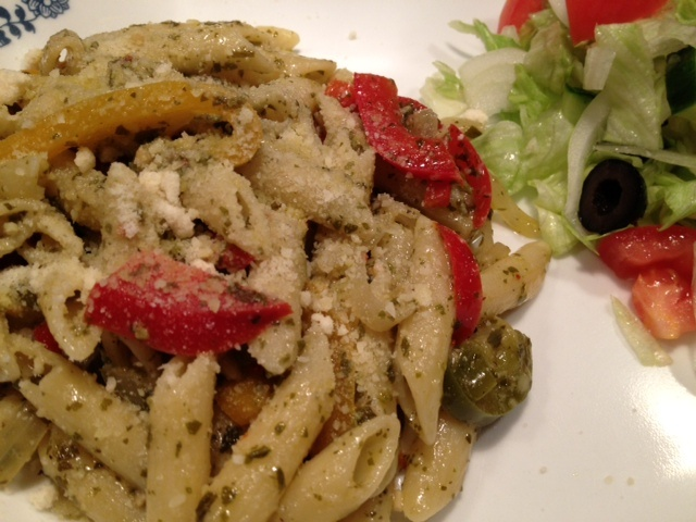 Pesto Penne Pasta, found on   http://indianmomdotcom.blogspot.com/2013/04/whos-turn-is-it-today.html