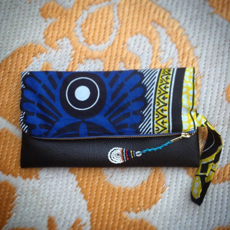 Fold Over Clutch Bag - Blue+Yellow African Makoti Wax Print with Black Faux Leather Trim - Bridesmaid's Gift - (BYBL7) by ChangNoii on Etsy