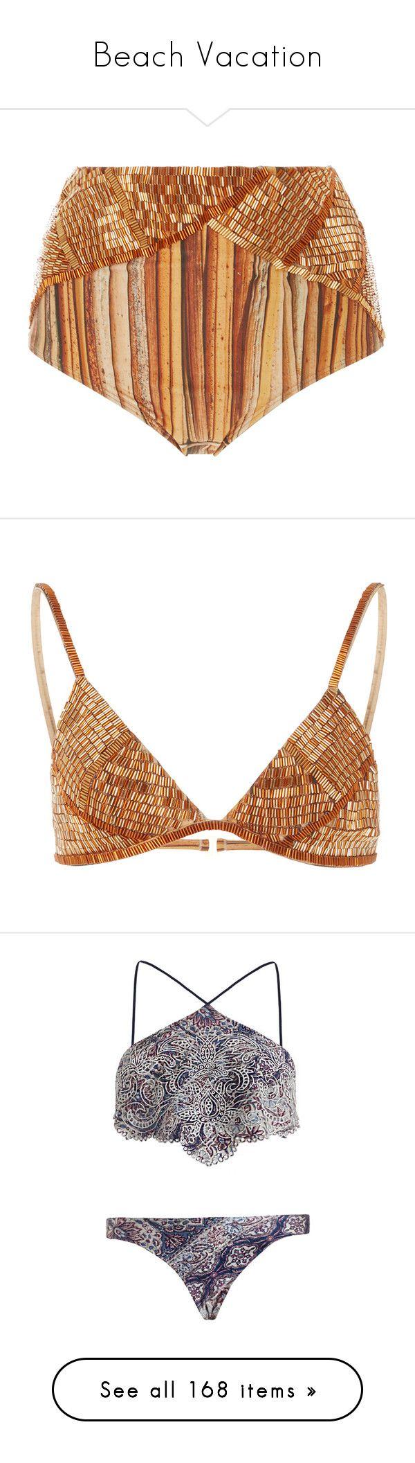 """Beach Vacation"" by samnbuckley ❤ liked on Polyvore featuring swimwear, bikinis, bikini bottoms, gold, striped high waisted bikini, swim bikini bottoms, high rise bikini, high-waisted bikinis, beaded bikini and bikini tops"