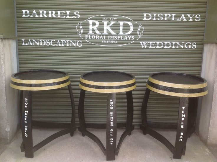 Barrel tables personalized By RKD Floral Displays