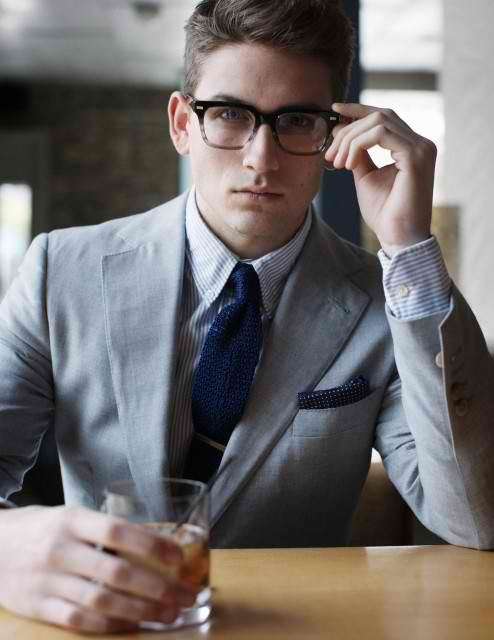 killer suit, brody: Ralph Lauren, Knits Ties, Grey Suits, Boys Style, Glasses, Men Fashion, Blue Ties, Pockets Squares, Gray Suits