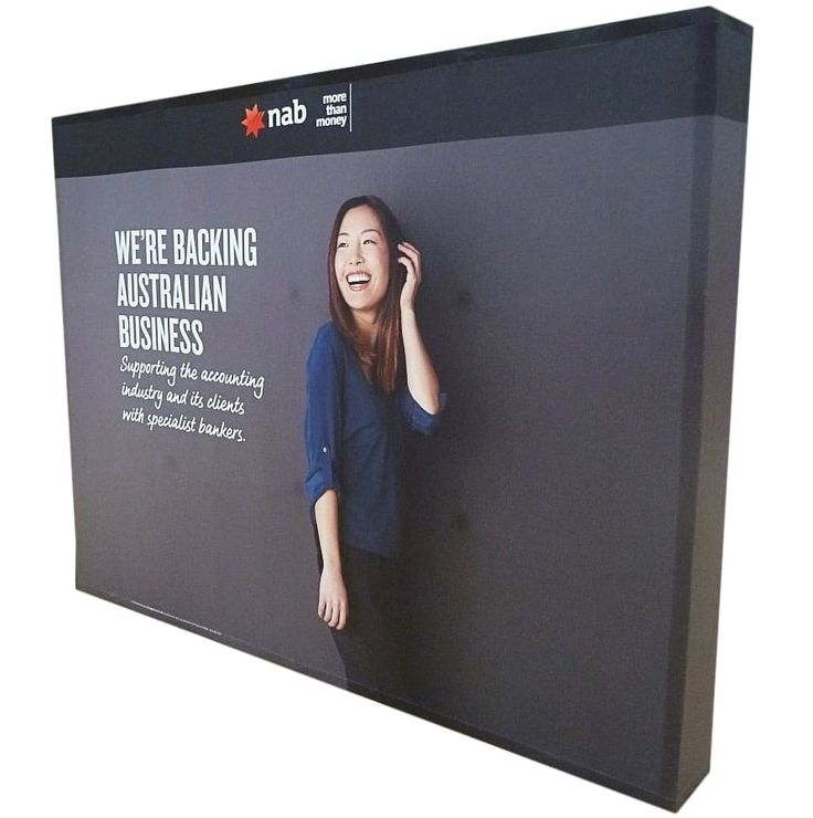 Pop up display with fabric banner.