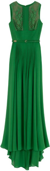 Vibrant Kelly green silk sleeveless gown. Pintuck details open up into a full center panel in the long skirt. Lace bodice insets. By Elie Saab. On Lyst.