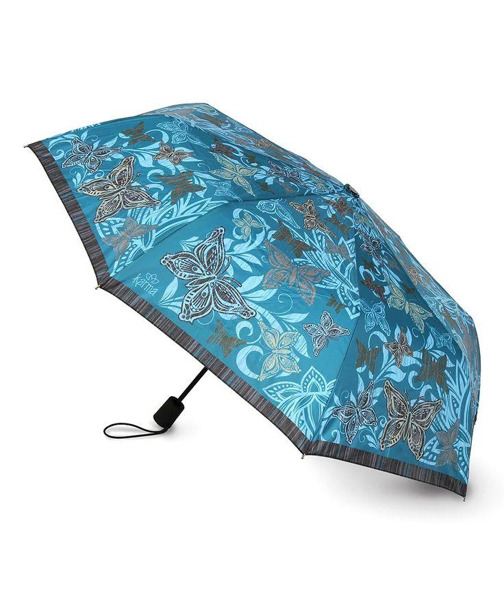 Blue Butterfly Travel Umbrella