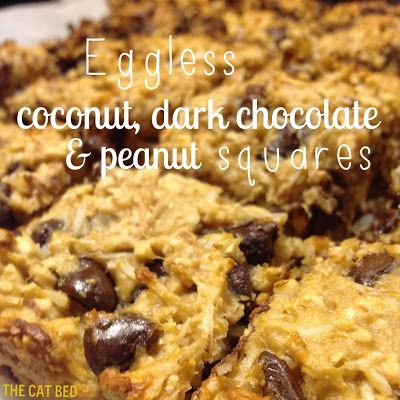 Eggless Coconut, Dark Chocolate & Peanut Squares