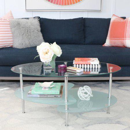 buy walker edison wave oval glass 2tier coffee table multiple