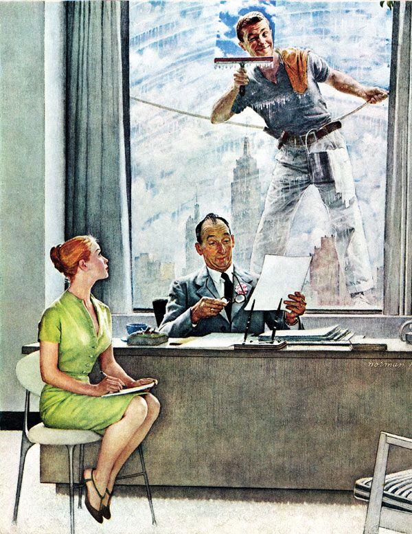 Window Washer, Norman Rockwell