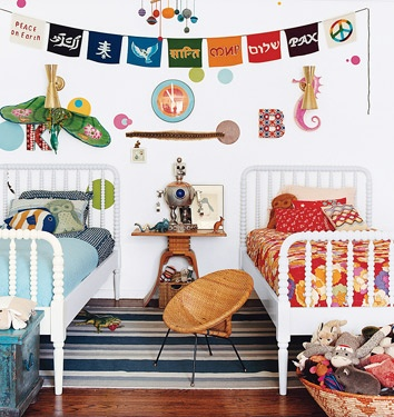 bedroom. Eclectic.  Bohemian.  Funky. Primary colors.  Mismatched.  Bedroom for two kids, maybe boy and a girl.