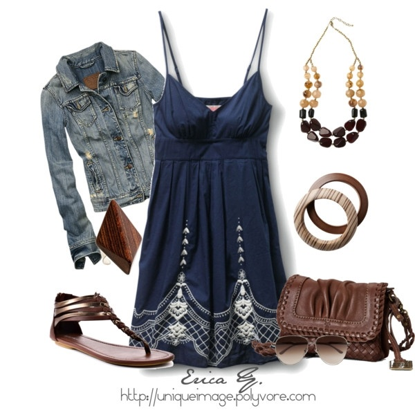 blue jean jacket with pretty summmer dresses