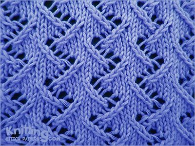 Zig Zag Lace Stitch Pattern  Multiple of 6 stitches, 8 row repeat