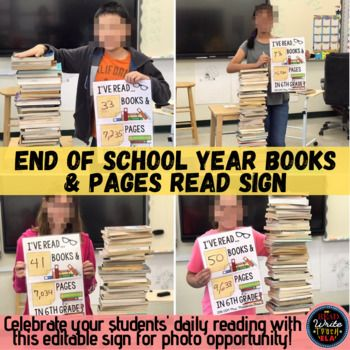 End of School Year Books and Pages Read Sign to Celebrate Reading Success