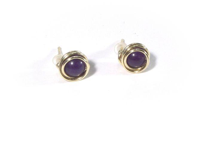 Earrings amethyst wire wrapping from betulek by DaWanda.com  #earrings   #kolczyki  #jewelry   #jewellery   #gift   #beauty   #fashion   #style  #black  #minimalism   #quality #trendy #handmade   #handmadejewelry   #buyhandmade   #earings   #betulek   #bybetulek   #jewel   #look