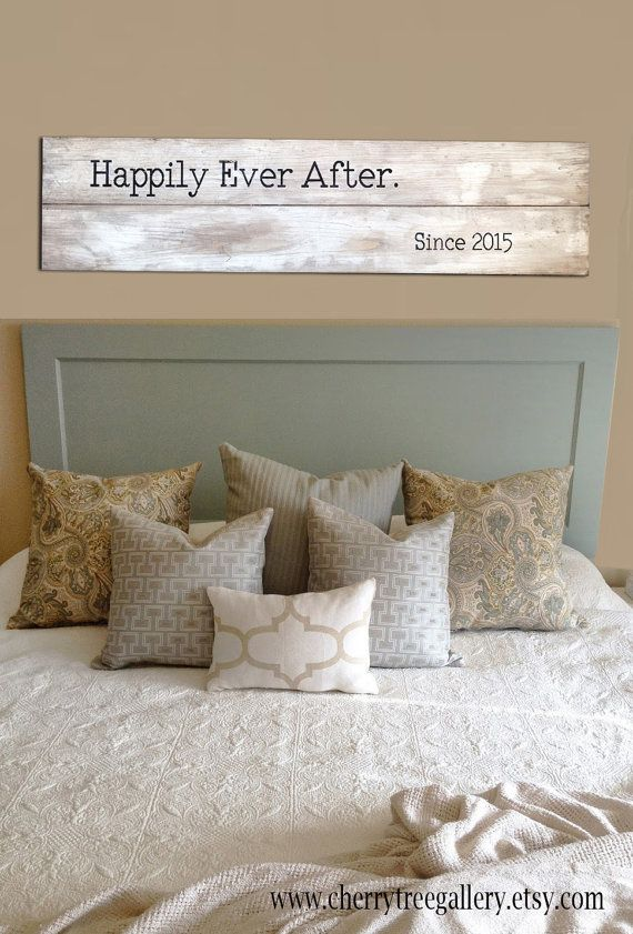 Cherry Tree Gallerys rustic white washed distressed walnut stained Happily Ever After large sign is a perfect addition to any home!  This sign