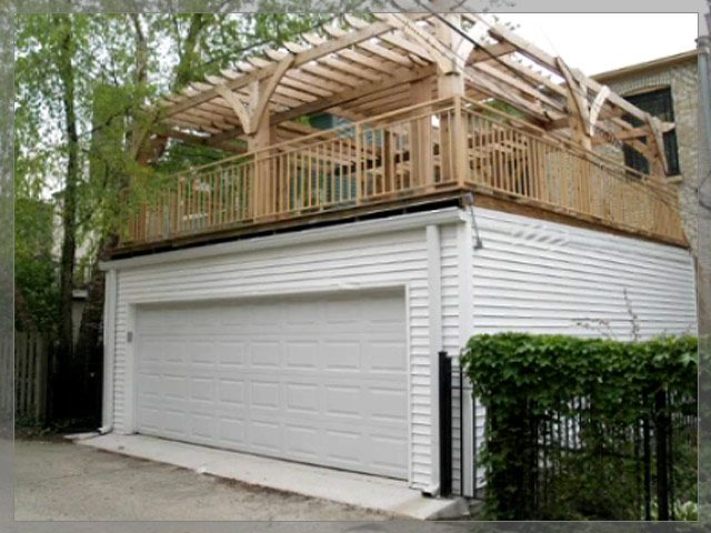 Flat roof w deck garages danleys garage world general for Flat roof garage with deck plans