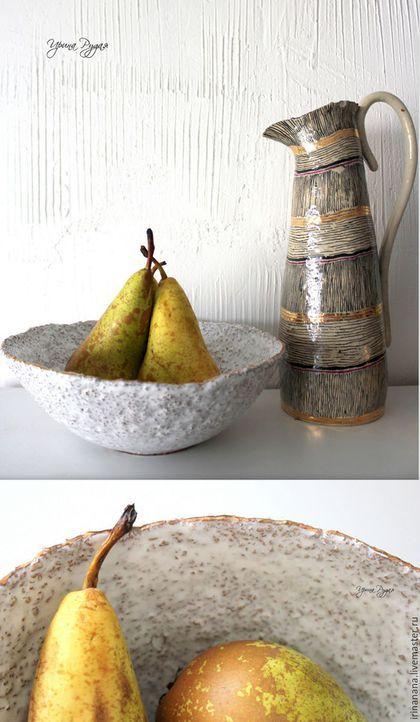 Салатники ручной работы. Ярмарка Мастеров - ручная работа. Купить Керамические чаши с золотой каёмочкой. Handmade. Белый, блюдо керамическое