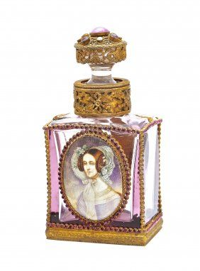 C1920 Czechoslovakian Cased Amethyst Perfume Bottle